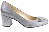 Naturalizer Wright Silver Metallic Crackle Leather Pump