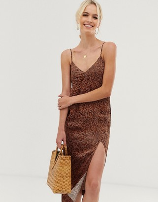 And other stories & dot print midi slip dress in rust