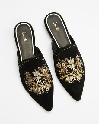 Camilla Women's Black Loafers - Embroidered Slippers - Size 38 at The Iconic