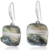 "Robert Lee Morris Set Sail"" Wire Wrapped Shell Stone Drop Earrings"
