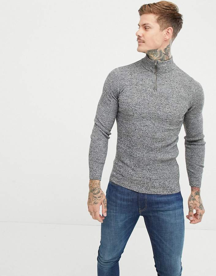014a60aa661 Design DESIGN muscle fit ribbed half zip jumper in grey twist