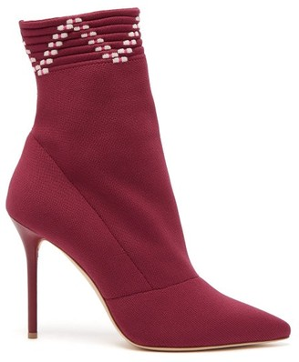Malone Souliers Mariah Sock Ankle Boots - Womens - Burgundy Multi