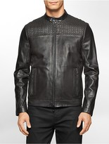 Calvin Klein Premium Slim Fit Laser Cut Textured Leather Jacket