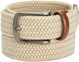 Perry Ellis Men's Webbed Leather-Trim Belt