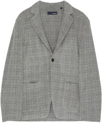 Lardini Check notch lapel stretch knit blazer