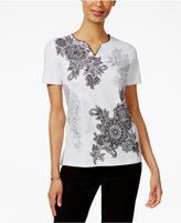 Alfred Dunner Petite Garden Party Floral Graphic Top