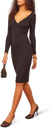 Reformation Mickey Ribbed Long Sleeve Surplice Dress