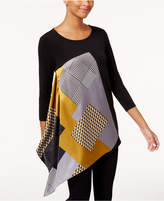 Alfani Asymmetrical Mixed-Media Top, Created for Macy's