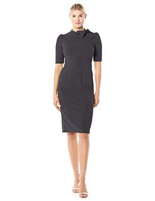 Donna Morgan Women's Stretch Crepe Side Tie Neck Sheath Dress