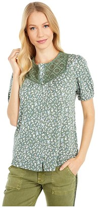 Lucky Brand Button-Down Knit Blouse (Olive Multi) Women's Clothing