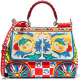 Dolce & Gabbana Sicily Small Printed Textured-leather Shoulder Bag - one size