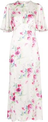 Les Rêveries Floral-Print Silk Midi Dress