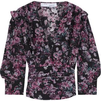 IRO Vulca Ruffle-trimmed Floral-print Silk Crepe De Chine Blouse