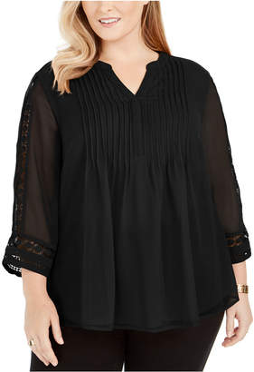 Charter Club Plus Size Pintuck-Front Lace-Sleeve Top