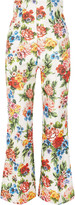 Emilia Wickstead Sammy floral-print basketweave flared pants