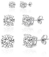 Bliss 18k White Gold Sterling Silver Cz Trio Multi-size Round 4 Prong Stud Earrings.