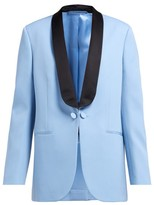 Calvin Klein - Silk-satin Lapel Wool Tuxedo Jacket - Womens - Blue Multi