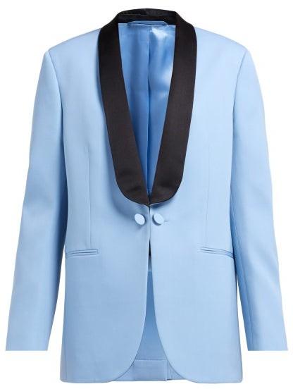 Calvin Klein Silk Satin Lapel Wool Tuxedo Jacket - Womens - Blue Multi