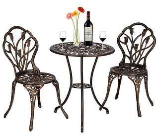 Overstock Outdoor 3 Piece Tulip Bistro Set of Table and Chairs Bronze