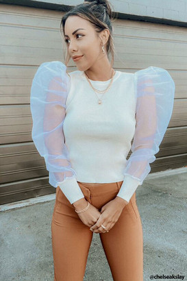Forever 21 Ribbed Puff-Sleeve Top