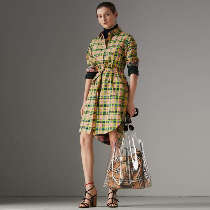 Burberry Painted Check Cotton Tie-waist Shirt Dress