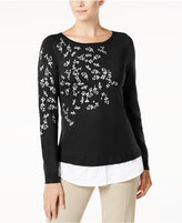 Charter Club Layered-Look Embroidered Sweater, Created for Macy's