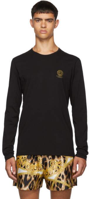 Versace Underwear Black Logo Long Sleeve T-Shirt
