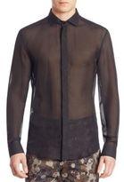 Versace Sheer Casual Button-Down Shirt