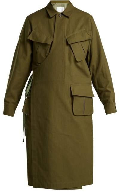Toga Wrap Front Cotton Coat - Womens - Khaki