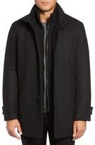 Andrew Marc Men's Big & Tall Stafford Pressed Wool Blend Car Coat With Inset Bib