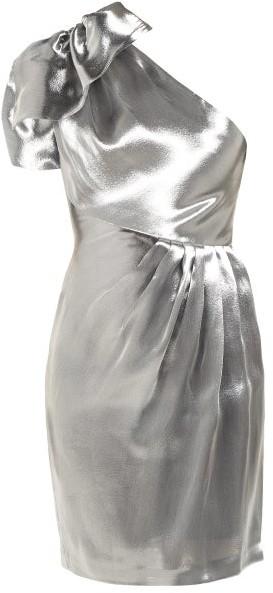 Maria Lucia Hohan Alya One Shoulder Organza Mini Dress - Womens - Silver