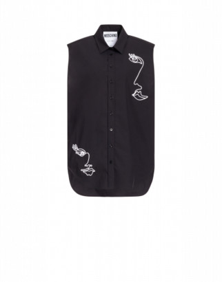 Moschino Poplin Shirt With Cornely Embroidery Woman Black Size 38 It - (4 Us)