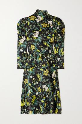 Erdem Irwin Pleated Floral-print Silk-satin Midi Dress - Black