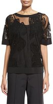 Lafayette 148 New York Bateau-Neck Botanical Mesh Jersey Top, Black