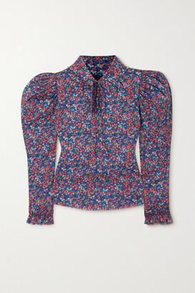 Horror Vacui Coco Ruffled Floral-print Cotton Blouse - Blue
