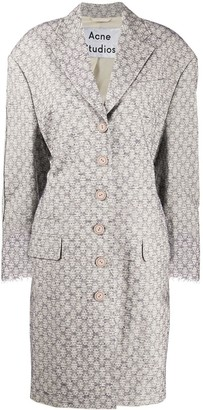 Acne Studios Flower-Jacquard Single-Breasted Coat