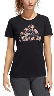 adidas Women's Floral-Print Crewneck Cotton T-Shirt