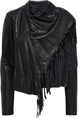 Isabel Marant Nestor Fringed Draped Leather Jacket