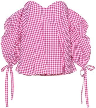 Caroline Constas Gabriella gingham cotton top