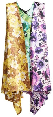 Richard Quinn Contrast-panel Floral-print Satin Dress - Womens - Multi