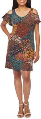 MSK Short Sleeve Cold Shoulder Feather Print Shift Dress-Petite