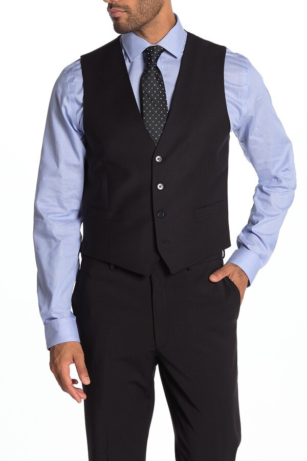 Calvin Klein Black Slim Fit Wool Blend Suit Vest