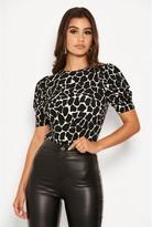 AX Paris Printed Ruched Sleeve Bodysuit - Black