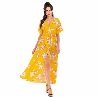 Haashpylien Women's Maxi Dress Fashion Summer Bohemian Floral Print Wrap V Neck Short Sleeve Long Dress Casual Split Dresses Swing A Line Sundress for Beach Party Wedding with Belt