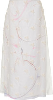 Marina Moscone Embroidered Silk-Blend Chiffon Midi Skirt