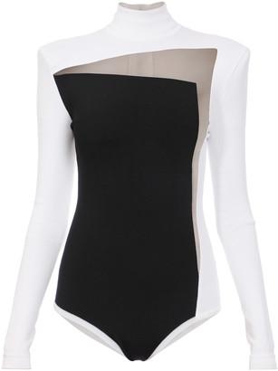 Balmain Mesh-Paneled Stretch-Knit Bodysuit