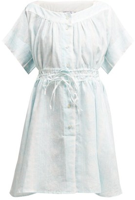 Thierry Colson Tania Floral-print Linen Dress - Light Blue