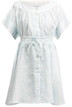 Thierry Colson Tania Floral-print Linen Dress - Womens - Light Blue