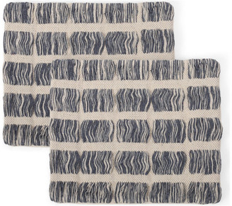 Gdfstudio Bridger Hand-Loomed Boho Pillow Cover, Dusty Blue, Natural, Set of 2