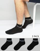 Reebok 3 Pack Ankle Socks In Black AB5274
